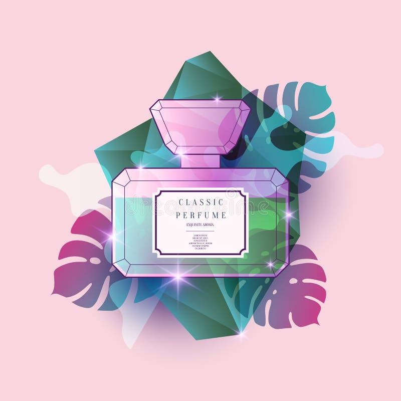 Profumi la bottiglia con il modello geometrico Manifesto moderno luminoso per fragranza di vendita e di pubblicità royalty illustrazione gratis