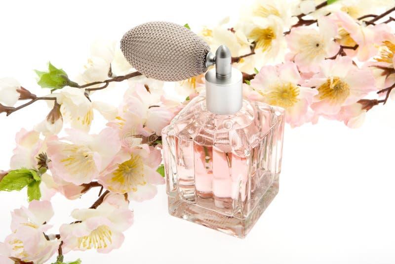 Profumo, bottiglia dentellare con i fiori di ciliegia immagine stock libera da diritti