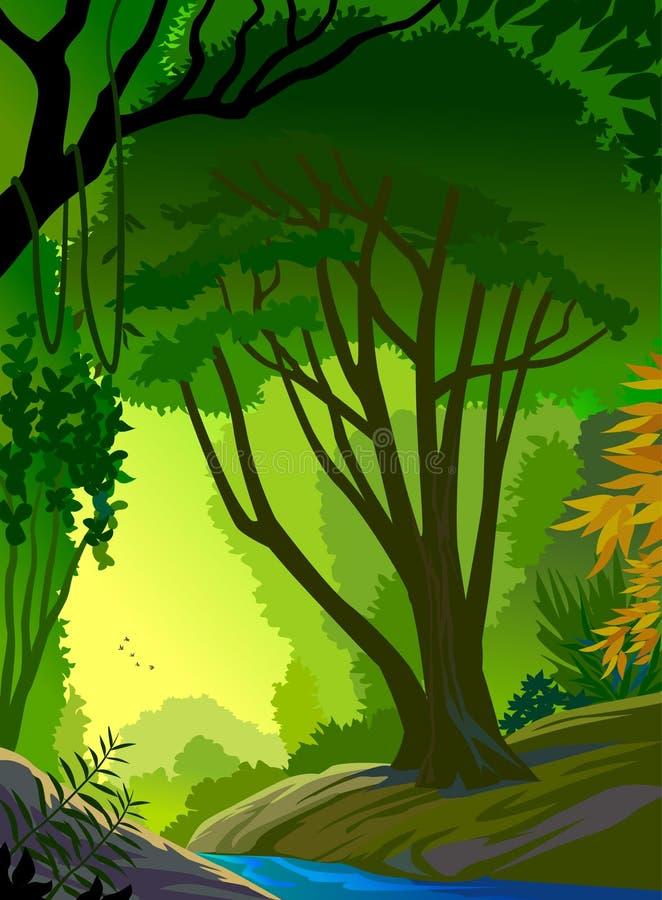 Profundamente na floresta de Amazon ilustração stock