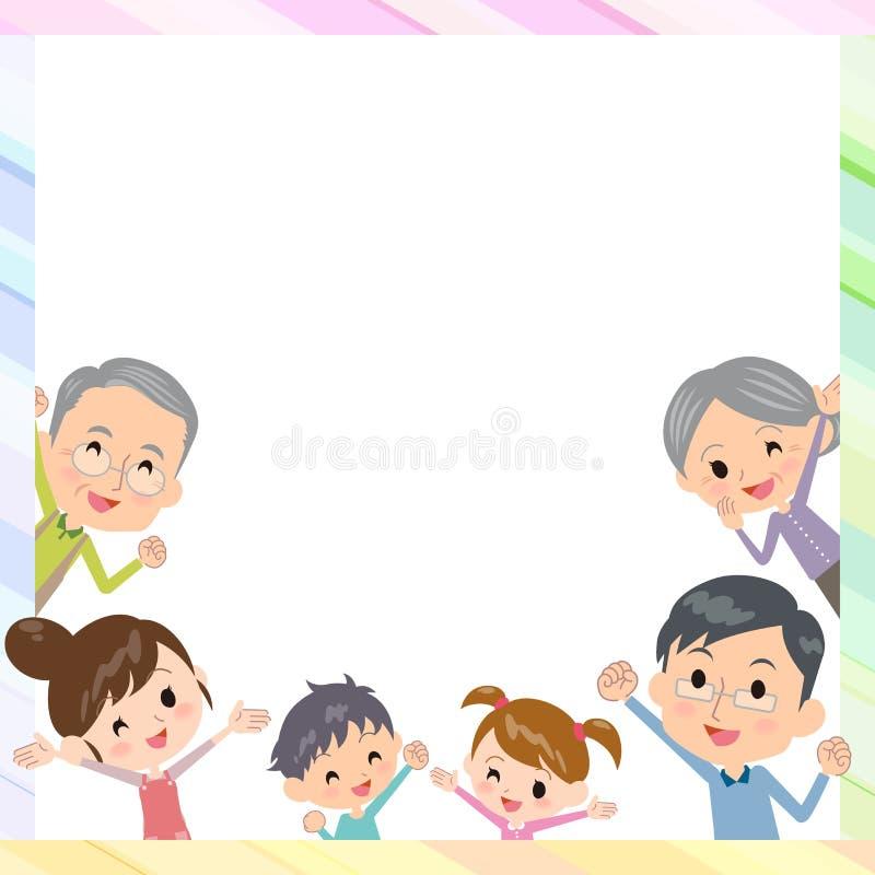 Profundidad de las generaciones de la familia tres en marco stock de ilustración