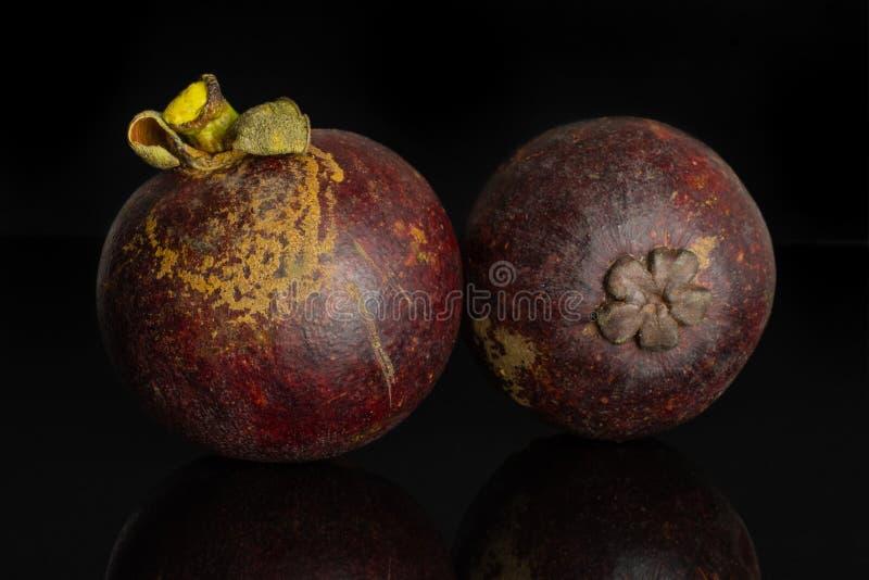 Profundo - mangustão roxo isolado no vidro preto fotos de stock royalty free
