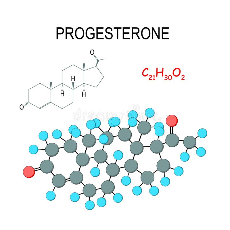 progesterone F?rmula estrutural e modelo qu?micos da mol?cula C21H30O2 ilustração stock