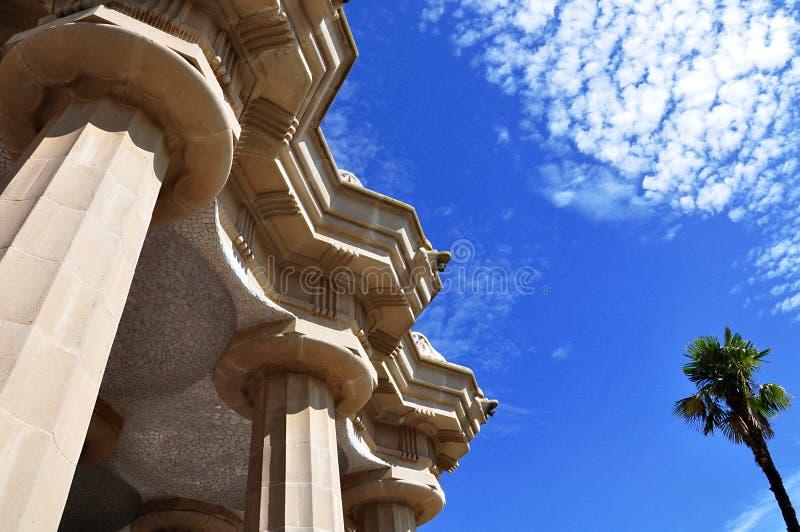 Progettato da Antoni Gaudi, parco Guell Barcellona, Spagna immagine stock