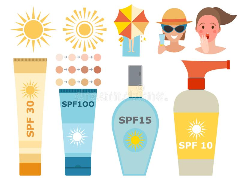 Progettazione ackaging crema della protezione solare della bottiglia di vettore dell'icona del sunblock di estate del contenitore royalty illustrazione gratis