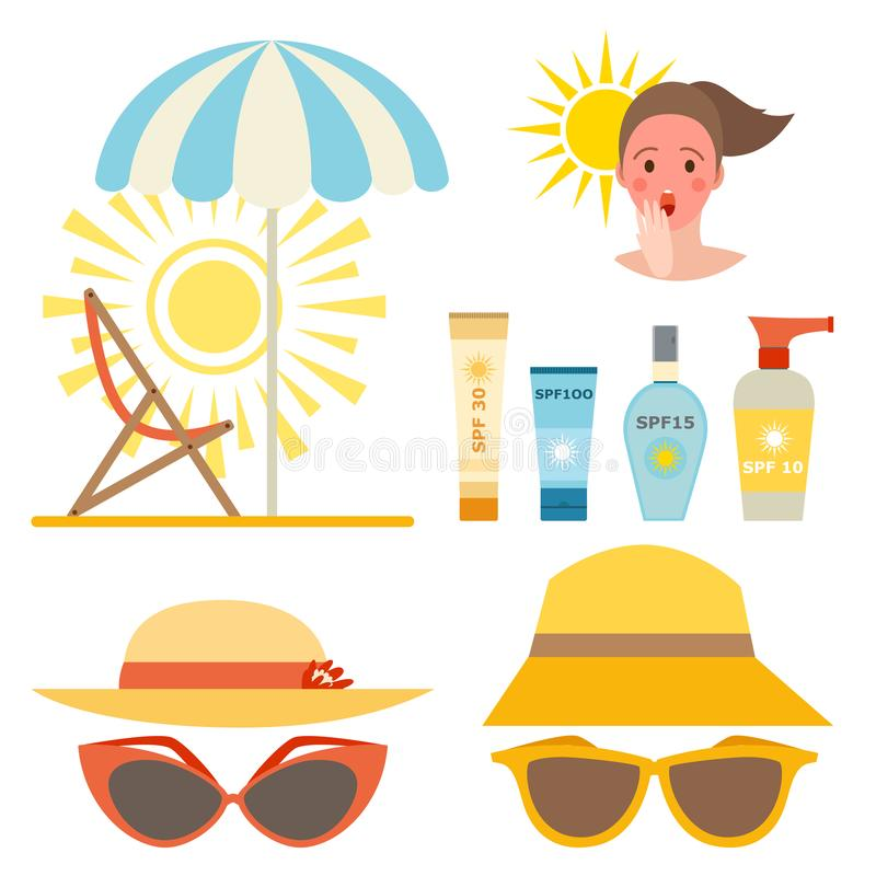 Progettazione ackaging crema della protezione solare della bottiglia di vettore dell'icona del sunblock di estate del contenitore illustrazione di stock
