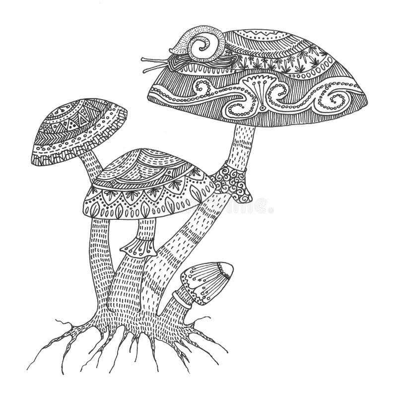 Progettazione adulta complessa disegnata a mano del libro da colorare del nero del fungo secco per anti attività di sforzo illustrazione vettoriale