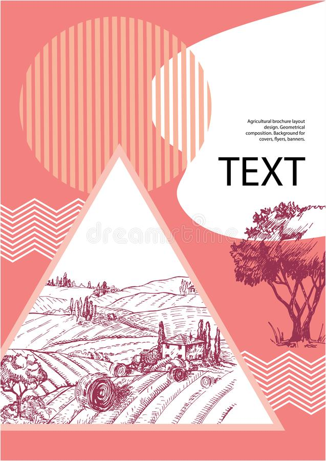Progettazione agricola della disposizione dell'opuscolo composizione geometrica Fondo per le coperture, alette di filatoio, inseg illustrazione di stock