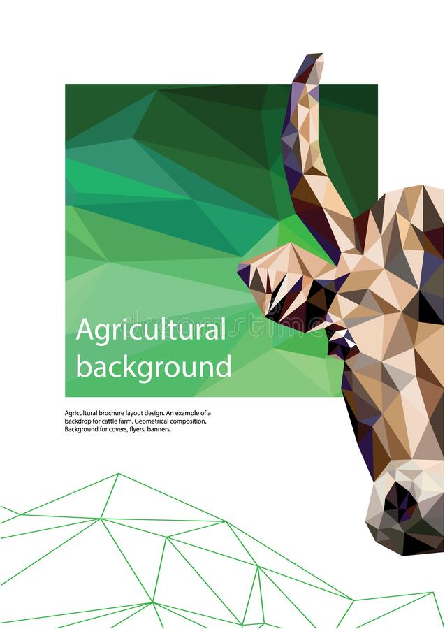 Progettazione agricola della disposizione dell'opuscolo composizione geometrica Fondo per le coperture, alette di filatoio, inseg royalty illustrazione gratis