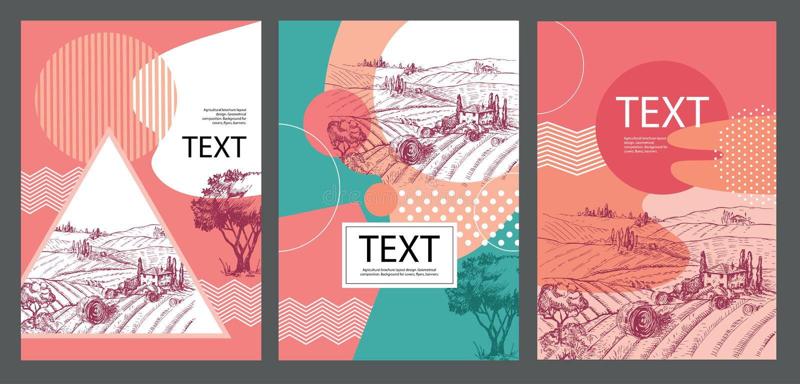 Progettazione agricola della disposizione dell'opuscolo composizione geometrica Fondo per le coperture, alette di filatoio, inseg illustrazione vettoriale