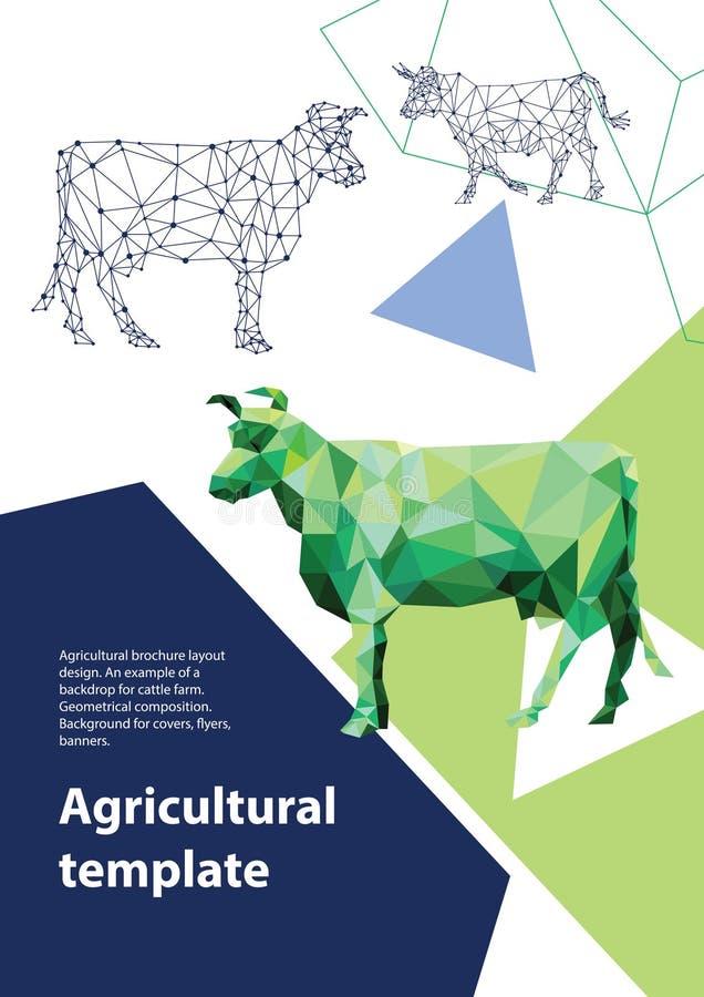 Progettazione agricola della disposizione dell'opuscolo Fondo per le coperture, alette di filatoio, insegne royalty illustrazione gratis