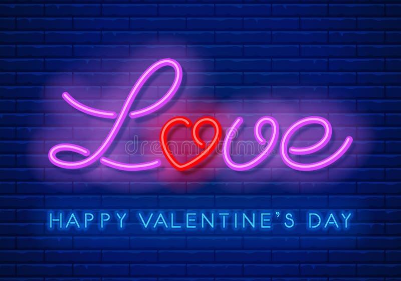 Progettazione al neon di amore illustrazione vettoriale