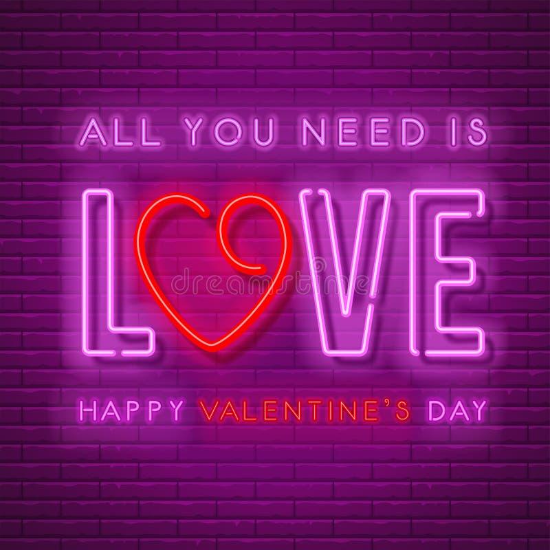 Progettazione al neon di amore illustrazione di stock
