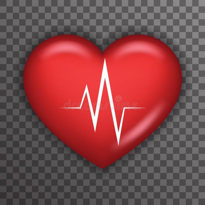 Progettazione alta del fondo di simbolo di assistenza medica di sanità di Rate Pulse Realistic 3d del battito cardiaco dell'icona illustrazione vettoriale
