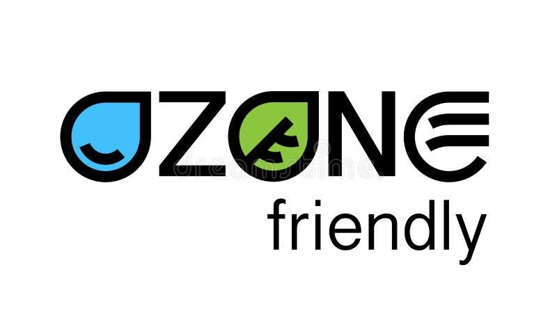 Progettazione amichevole di logo di concetto di eco dell'ozono ambientale illustrazione vettoriale