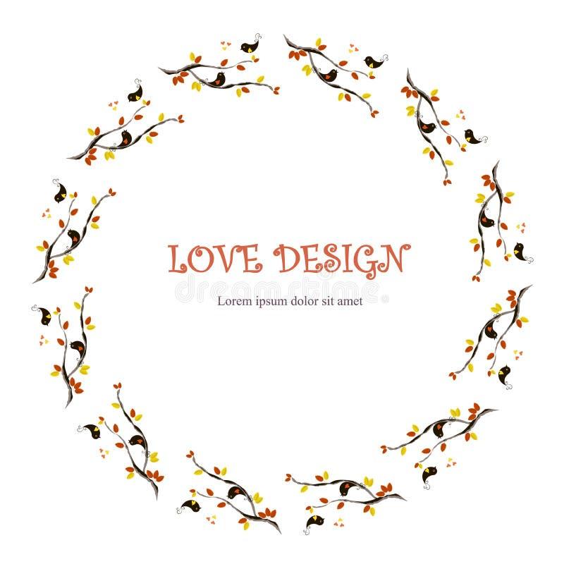 Progettazione amorosa rotonda, fondo di lorem ipsum Verniciatura delle foglie arancio e gialle, uccelli amorosi neri sui rami, cu royalty illustrazione gratis