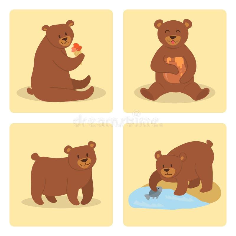 Progettazione animale adorabile dell'illustrazione sveglia selvaggia stabilita dell'orso grigio di vettore di posa dell'orsacchio illustrazione di stock