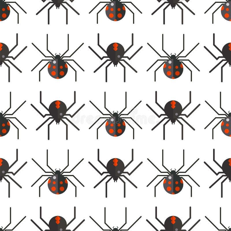 Progettazione animale spaventosa del modello senza cuciture di timore dell'aracnide della siluetta della ragnatela illustrazione vettoriale