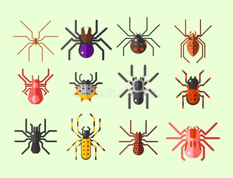 Progettazione animale spaventosa piana grafica di timore dell'aracnide della siluetta della ragnatela illustrazione di stock
