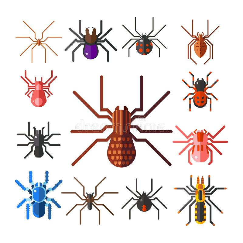 Progettazione animale spaventosa piana grafica di timore dell'aracnide della siluetta della ragnatela illustrazione vettoriale