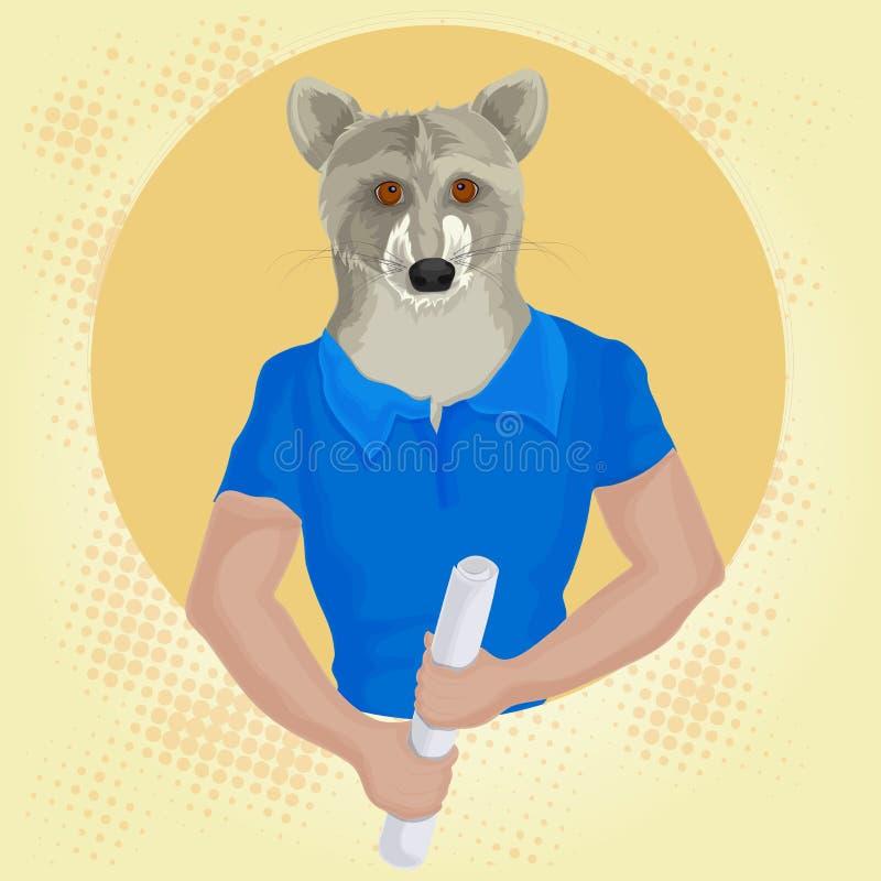 Progettazione antropomorfica con il lupo illustrazione di stock