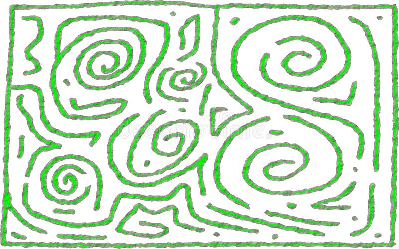 Progettazione approssimativa di numero di stile del labirinto e della calce 6 grigi illustrazione vettoriale