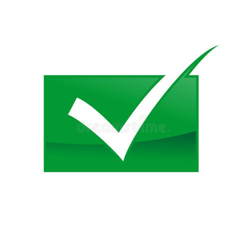 Progettazione approvata verde di simbolo della casella di controllo di qualità illustrazione di stock