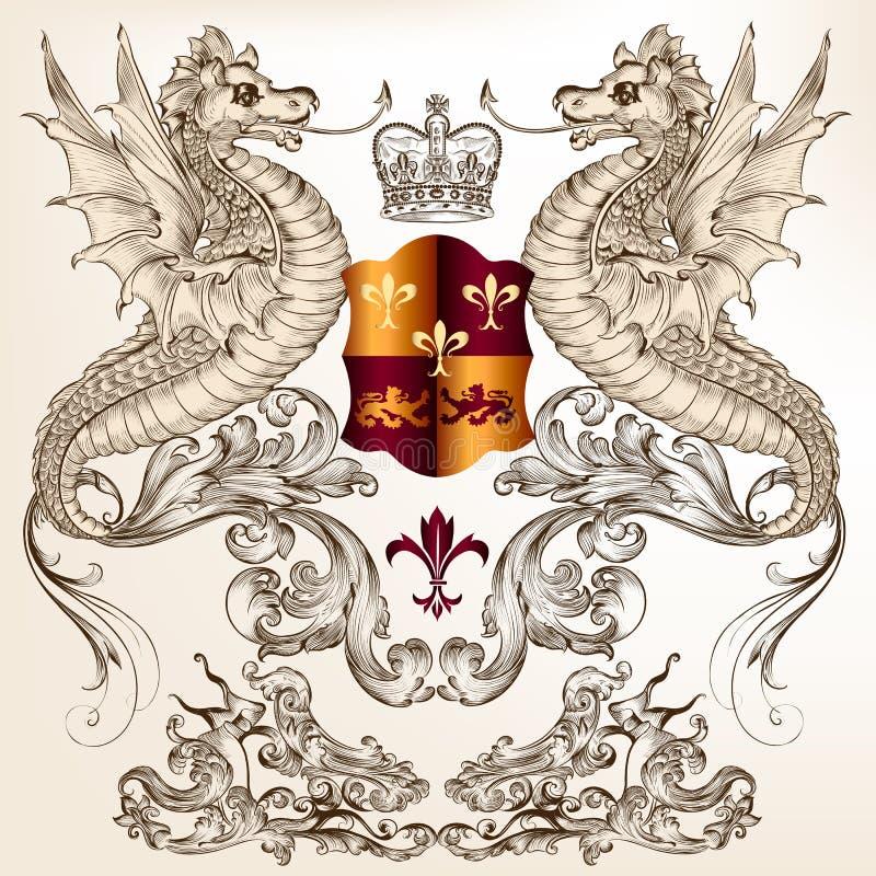 Progettazione araldica con i draghi, il giglio araldico e lo schermo illustrazione di stock