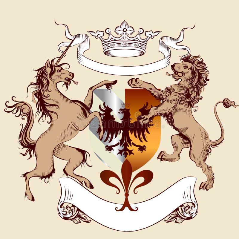 Progettazione araldica con la stemma, il leone ed il cavallo in porcile d'annata royalty illustrazione gratis