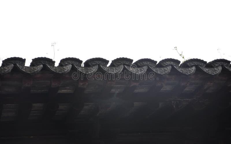 Progettazione architettonica cinese del tetto di mattonelle dal giardino di Yu sulla città di Shanghai fotografia stock