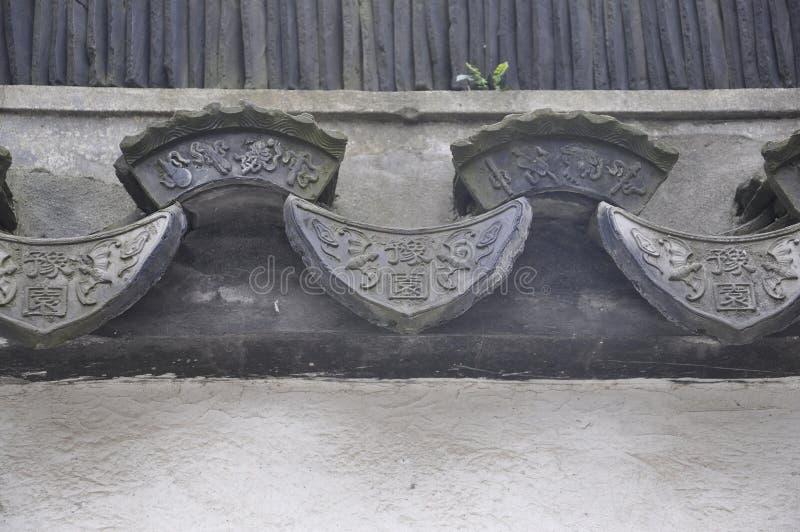 Progettazione architettonica cinese del tetto di mattonelle dal giardino di Yu sulla città di Shanghai immagini stock