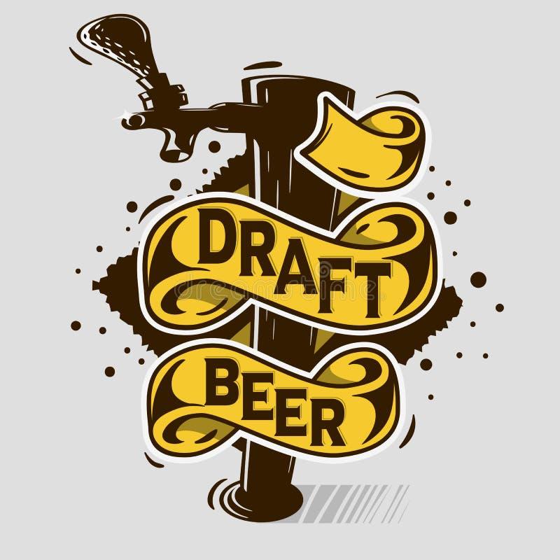 Progettazione artistica del manifesto della stampa di stile di Tatoo del fumetto del rubinetto della birra alla spina con l'inseg illustrazione vettoriale