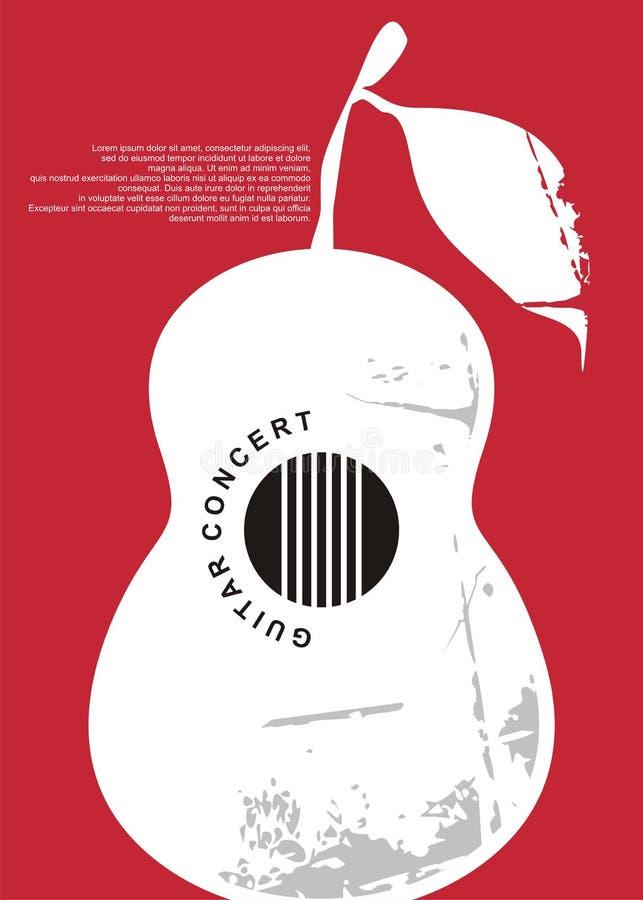 Progettazione artistica del manifesto di concerto classico della chitarra illustrazione di stock