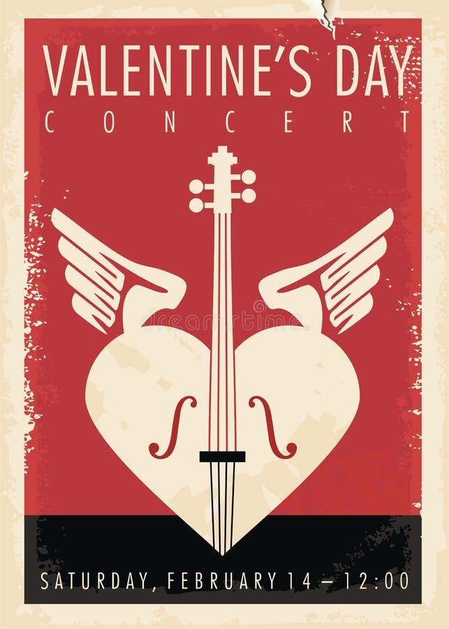 Progettazione artistica del manifesto di concerto di musica di giorno di biglietti di S. Valentino royalty illustrazione gratis