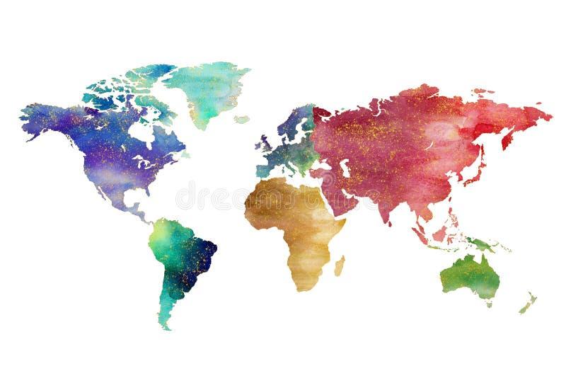 Progettazione artistica della mappa di mondo dell'acquerello illustrazione vettoriale