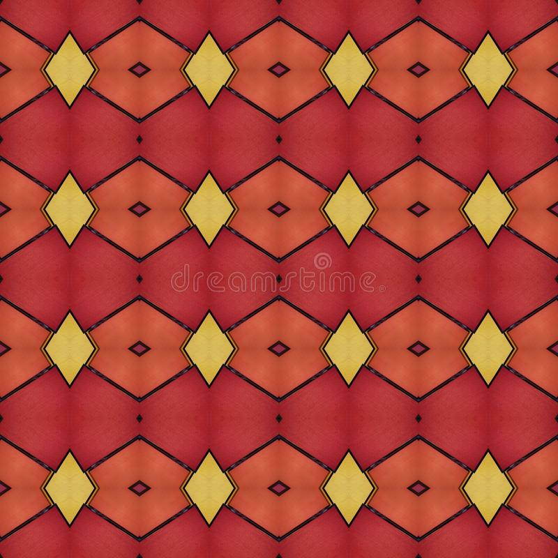 progettazione astratta con i piccoli pezzi di vetro opaco nei colori, nel fondo e nella struttura rossi e gialli royalty illustrazione gratis