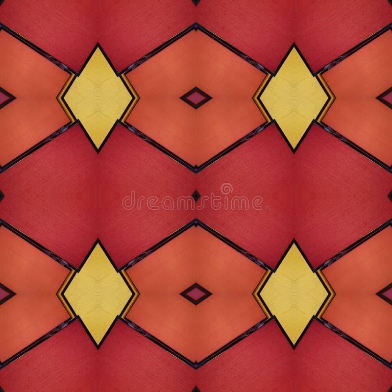 progettazione astratta con i piccoli pezzi di vetro opaco nei colori, nel fondo e nella struttura rossi e gialli illustrazione vettoriale