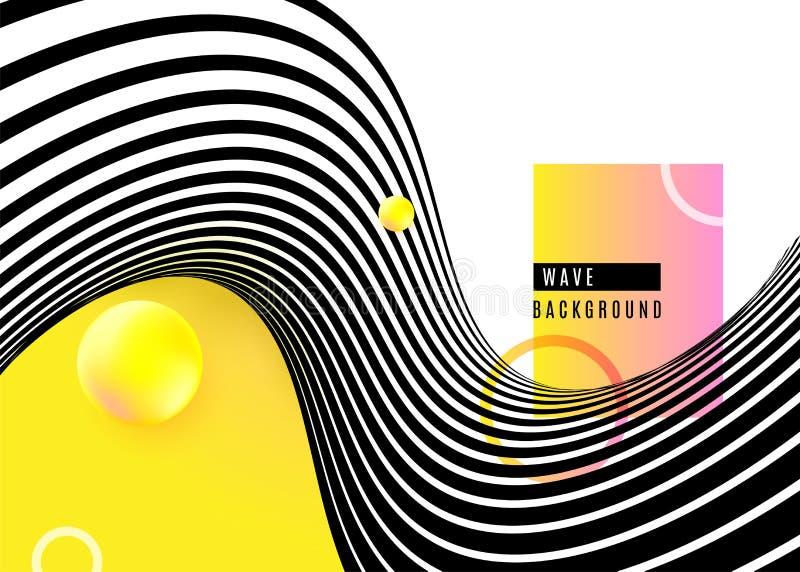 Progettazione astratta con le linee in bianco e nero dell'onda della banda, forma gialla della sfera, anelli del fondo Pop art ot illustrazione di stock