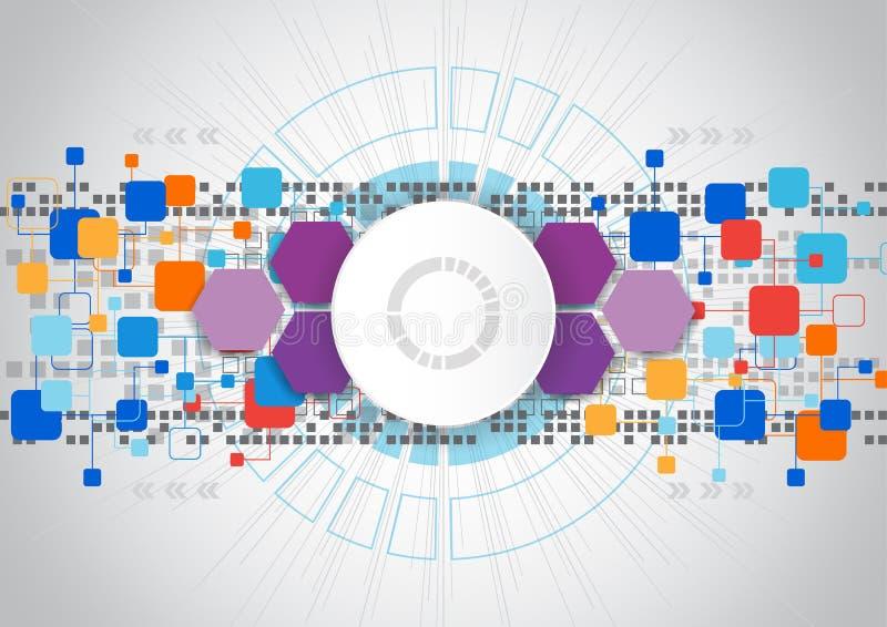 Progettazione astratta del fondo di tecnologia di ingegneria di vettore illustrazione di stock
