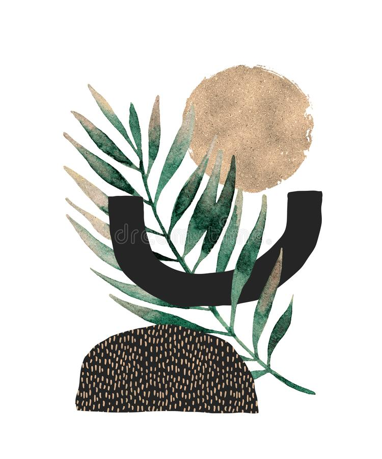 Progettazione astratta del manifesto: forme minime, foglia tropicale dorata lucida illustrazione vettoriale