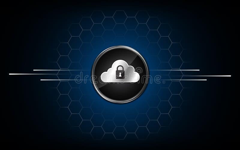 Progettazione astratta del modello di esagono del fondo di concetto di fi di sci di tecnologia di sicurezza con i dati del botton illustrazione di stock