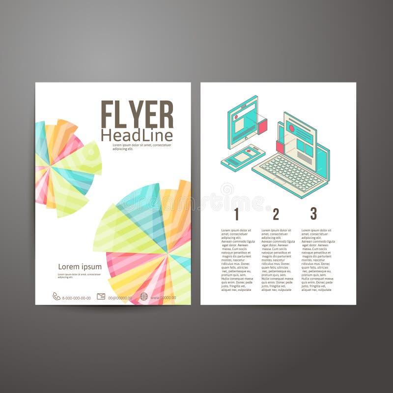 Progettazione astratta dell'aletta di filatoio dell'opuscolo cellulare e desktop illustrazione di stock