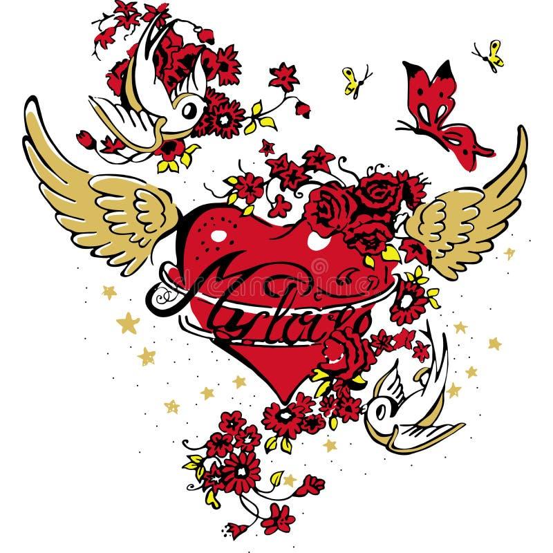 Progettazione astratta della camicia di amore di modo royalty illustrazione gratis