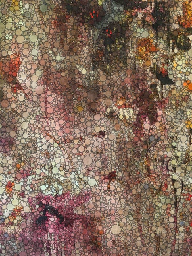 Progettazione astratta di arte della parete con i cerchi nei colori rustici immagine stock