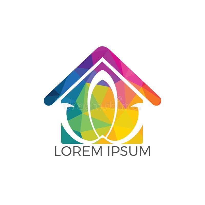 Progettazione astratta di logo del fiore di loto e della casa illustrazione di stock