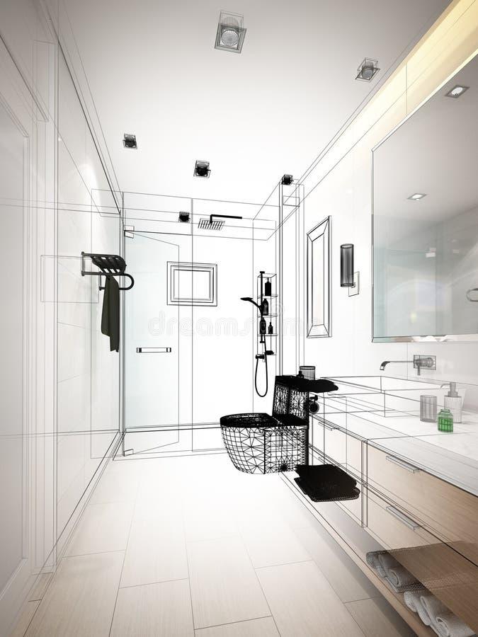 Progettazione astratta di schizzo del bagno interno illustrazione vettoriale
