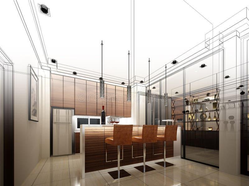 Progettazione astratta di schizzo della cucina interna illustrazione vettoriale