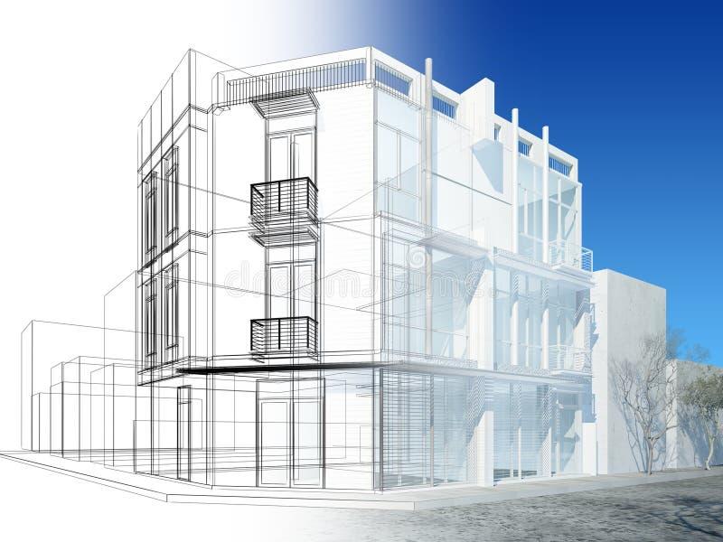 Progettazione astratta di schizzo di costruzione esteriore royalty illustrazione gratis