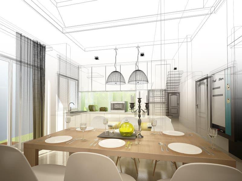 Progettazione astratta di schizzo pranzare dell'interno e della stanza della cucina, 3d illustrazione di stock