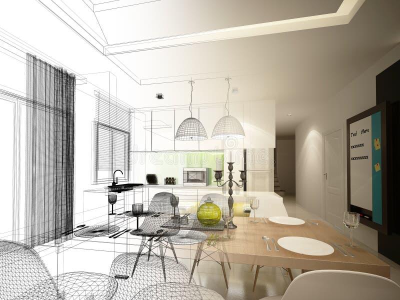 Progettazione astratta di schizzo pranzare dell'interno e della stanza della cucina, 3d illustrazione vettoriale