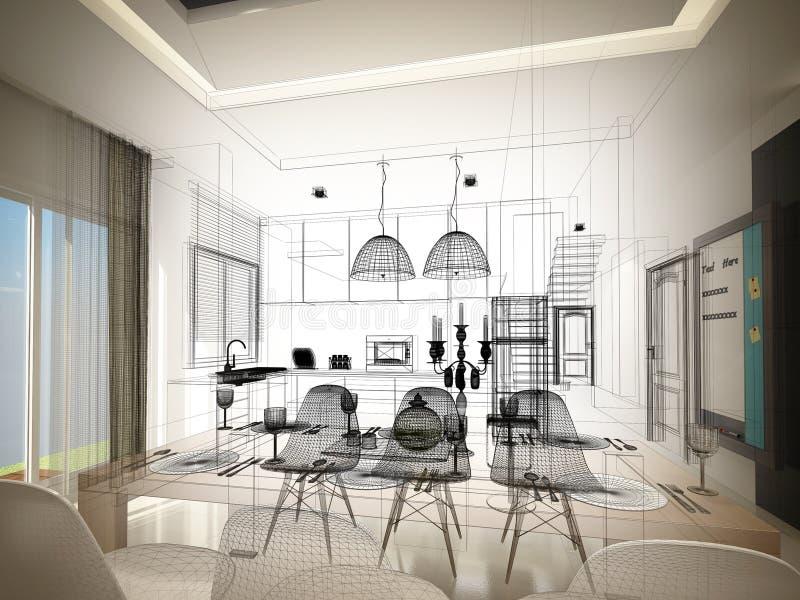 Progettazione astratta di schizzo pranzare dell'interno e della stanza della cucina, 3d royalty illustrazione gratis